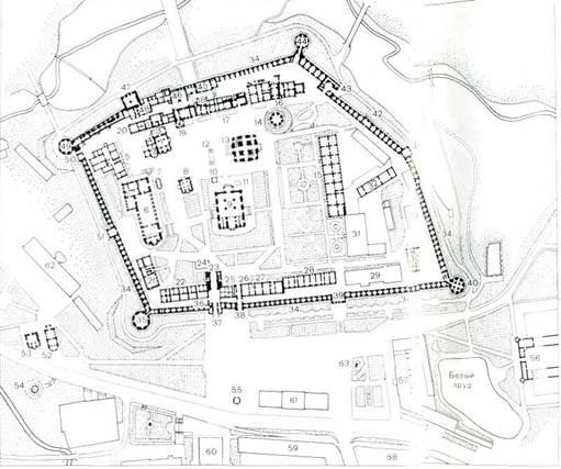 План. Здания в монастыре;